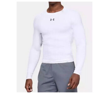 Under Armour Mens Large Shirt Long Sleeve Compression Heat Gear White Athletic