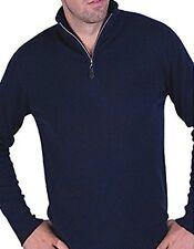 Balldiri 100% Cashmere Cashmere Uomo Pullover Troyer 4 fädig Blu Scuro XXL