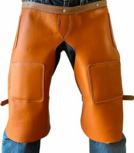 Leather Chaps, Apron, Orange Color for Work, Sports, Horse/Bike Gear, Saddle