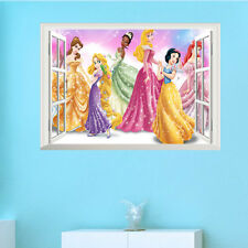 3D Princess Window Wall Sticker Vinyl Decal Removable Mural Girl Bedroom Decor