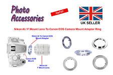 Cámara digital Nikon AI F Montaje Lente Adaptador Anillo Canon EOS para cuerpos d de cine/