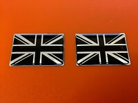 Domed Resin Gel Stickers - UNION JACK X 2 - Black on Chrome 29mm x 19mm