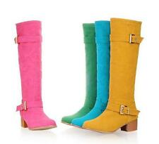 hot women's slip on block heels buckle faux suede candy color mid calf boots