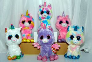 "TY Beanie Boos Unicorns Lot  6"" Athena Pixy Magic Fantasia Wishful and Blitz (6)"