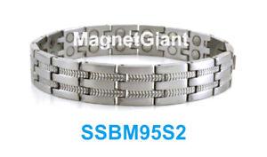 SSBM95S2 - Magnetic Silver Men's stainless steel link bracelet 5000 Gauss 316L