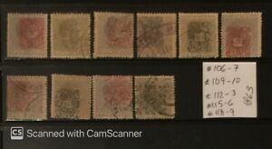 1863 Cub Collection Overprint Stamps, Scott #106-7,#109-10, #112-3,#115-6,#118-9