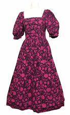 Laura Ashley Vintage Long 80s Cotton Dress UK 8 (Vtg 12) Pink Black Boned Bodice