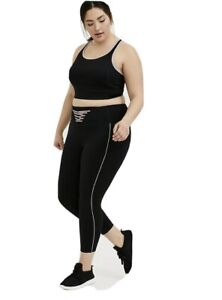 Torrid Activewear Set Sports Bra And Pants Size 0/12 NWT Black Pink Trim Lace Up