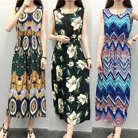 Girls Lady Bohemia Sleeveless Blush Linen Dress Summer Beach Long Dress One Size