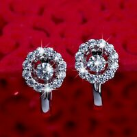 18k white gold gf huggies made with Swarovski crystal earrings dancing stone