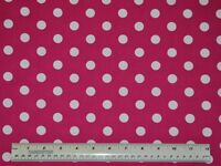 """1/2 yard cotton quilt fabric Pink with White 1/2"""" polka dots quilting apparel"""