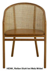 HENK, Stuhl hellbraun Rattan-Holz mit Armlehne, Rattan Möbel bei Matz Möbel