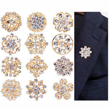 12X Gold Crystal Diamante Flower Pin Badge Brooch Wedding Bouquet Bridal Broach