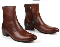 Europe Stylish Mens Gothic leather Ankle boots Zip casual dress shoes new Chz