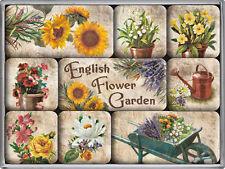 English Flower Garden Blumen Garten Nostalgie 9-tlg Kühlschrank Magnet Set MAG21