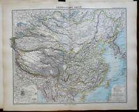 China Qing Empire Tibet Mongolia Korea Peking Beijing 1891 Stieler detailed map