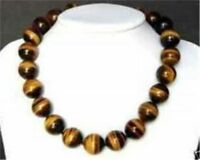 """Rare 12MM tiger's-eye Round beads necklace 18""""AAA+"""