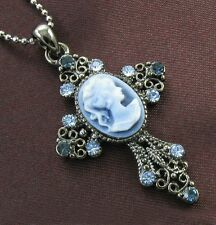 Antique VTG Style Blue Sapphire Rhinestone Designer Cameo Cross Necklace Pendant