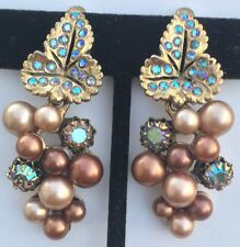 Exquisite Vintage Schiaparelli Earrings~Pearls/Rhinestones/Gold Tone