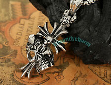 Korean Bigbang GD G-Dragon Style PUNK Skull Cross necklace Fine Stainless Steel