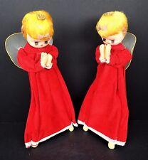 New Listing2 Praying Angels Retro Vtg 70s Legs 11� Standing Bendable Sitting Figurines
