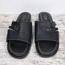 Villager a Liz Claiborne Company Black Leather Slide Mule Open Toe Sandals Sz 9W
