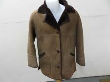 "Real Leather Sheepskin Shearling Coat Brown Women Size 38"" Chest Grade C T946"