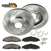 Front Drill Slot Brake Rotors & Ceramic Pads For 2015 2016 Jeep Renegade
