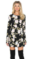 Show Me Your Mumu Tyler Tunic in Bella Rose Floral Print Black Sz XS Mini Dress