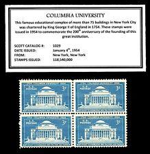 1954 - COLUMBIA UNIVERSITY -  Block of Four Vintage U.S. Postage Stamps