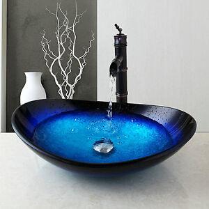 US Bathroom/Kitchen Tempered Glass Vessel Vanity Sink Bowl with Faucet set