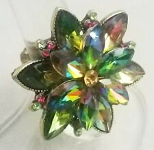 """Multi Color Gold Flower Large Cocktail Ring Crystal 1.5"""" Plated Stretch Band"""