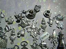 28 Alice in WONDERLAND  Mix charms Lot RABBIT Pocket Watch TEAPOT Silver fini.