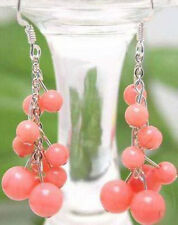 Pink Coral Beads Custer Grape White Gold Plated Hook Long Earrings