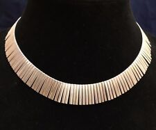 "Cleopatra Style Choker Necklace 925 Sterling Silver Italy, 16 1/2"" Long"