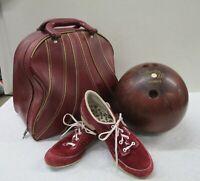 Vintage Bowling Set Columbia 300 Ball 13 lb 5 oz Brunswick Bag Hyde Shoes 7 (AL)