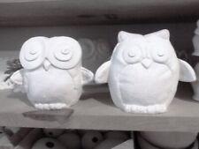 2 Owl Bird Shelf sitter Felted design Ready to Paint Ceramic Bisque