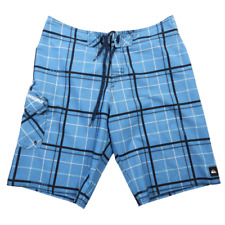 Quicksilver Blue Black & White Plaid Swim Trunk Board Shorts Men's Size 34
