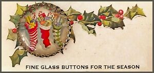 """CHRISTMAS STOCKINGS Glass Dome 1 1/4""""  BRASS BUTTON Vintage Toys Eve Gifts Santa"""