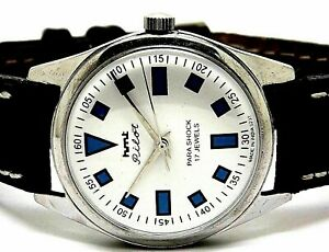 hmt pilot hand winding men's steel white dial 17 jewel vintage india watch