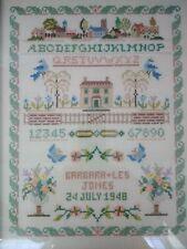 Antique Framed Decorative & Colourful Sampler - Dated 24 July 1948