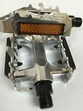 9/16''Aluminium Bike Pedals MTB Road Bike BMX Silver Platform Cage Fixie858