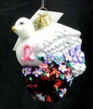 """Radko 2001 """"Wings of Love"""" Dove & Heart Ornament Tag Box Hand Painted Bird Gift"""