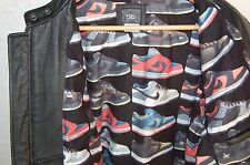 SUPER BEAUTIFUL !!! NIKE  PERFORATED LEATHER & LEATHER MEN BIKER  JACKET SIZE L