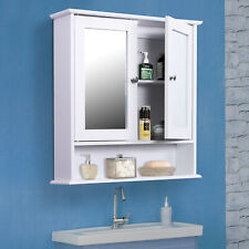 Wall-mounted Medicine Cabinets Bathroom Living Room Organizer with Mirror -White