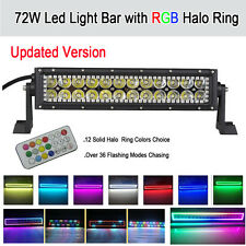 "72W 13.5"" Led Light Bar with RGB Halo Ring 12 Colors 72 Chasing For Jeep SUV 4WD"
