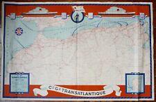 Compagnie Générale Transatlantique Carte Afrique du Nord 1950
