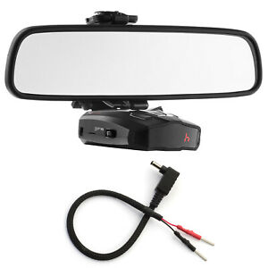 Mirror Mount Bracket + Mirror Wire Power Cord for Cobra Radar Detectors