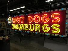 "New ""10 Inch Hotdogs / Hamburgs"" Animated Neon Sign 10 Feet Wide x 42"" High"