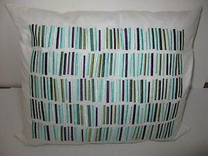 DKNY Breezy Leaf Embroidered Stripe Decorative throw pillow NWT